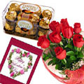 send gifts to bangladesh, send gift to bangladesh, banlgadeshi gifts, bangladeshi Rose & Chocolate + Card  Combo