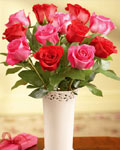 send gifts to bangladesh, send gift to bangladesh, banlgadeshi gifts, bangladeshi 50% & 50% Rose With Vase