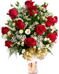 send gifts to bangladesh, send gift to bangladesh, banlgadeshi gifts, bangladeshi Red & White Rose With Vase