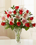 send gifts to bangladesh, send gift to bangladesh, banlgadeshi gifts, bangladeshi Thailand Rose & Lily  With Vase