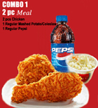 send gifts to bangladesh, send gift to bangladesh, banlgadeshi gifts, bangladeshi KFC - 2pcs Meal with Chicken
