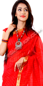 send gifts to bangladesh, send gift to bangladesh, banlgadeshi gifts, bangladeshi Red Half Silk Sari