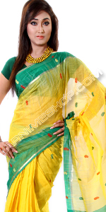 send gifts to bangladesh, send gift to bangladesh, banlgadeshi gifts, bangladeshi Green Paar Yellow Sari