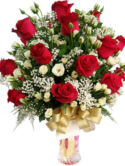 Send Red & White Rose With Vase to Bangladesh, Bangladesh Newspaper, Bangladeshi gift, send gifts to bangladesh, send gift to bangladesh