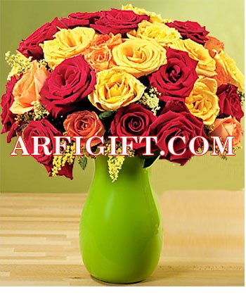 Send 36 Mix Rose With Ceramic Vase to Bangladesh, Bangladesh Newspaper, Bangladeshi gift, send gifts to bangladesh, send gift to bangladesh
