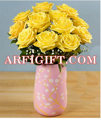 Send 24 Yellow Rose With Ceramic Vase to Bangladesh, Bangladesh Newspaper, Bangladeshi gift, send gifts to bangladesh, send gift to bangladesh