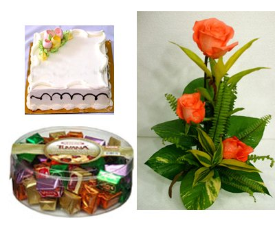 Send Rose, Chocolate, Cake Combo to Bangladesh, Send gifts to Bangladesh
