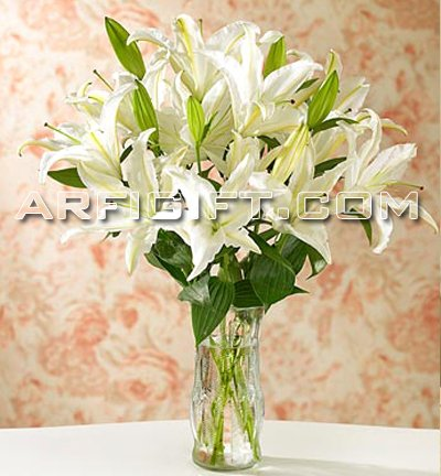 Send Thailand  Lily  With  Vase to Bangladesh, Bangladesh Newspaper, Bangladeshi gift, send gifts to bangladesh, send gift to bangladesh