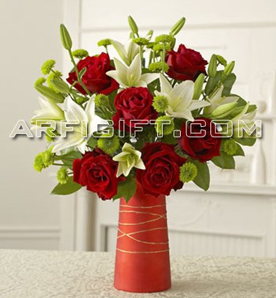 Send Thailand  Rose & Lily With Vase to Bangladesh, Bangladesh Newspaper, Bangladeshi gift, send gifts to bangladesh, send gift to bangladesh
