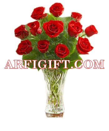 Send 24 Red Rose With  Vase to Bangladesh, Bangladesh Newspaper, Bangladeshi gift, send gifts to bangladesh, send gift to bangladesh