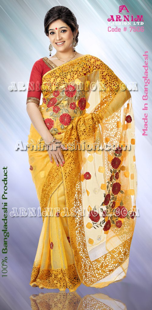 Send Yellow  Jamdani to Bangladesh, Bangladesh Newspaper, Bangladeshi gift, send gifts to bangladesh, send gift to bangladesh