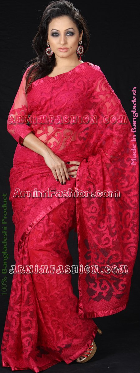 Send Pink Net Saree to Bangladesh, Bangladesh Newspaper, Bangladeshi gift, send gifts to bangladesh, send gift to bangladesh