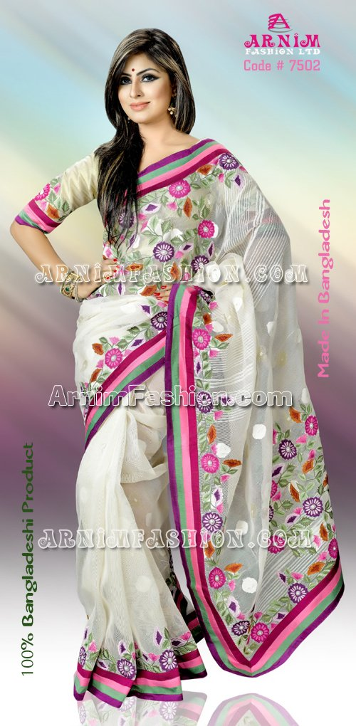 Send White Jamdani  to Bangladesh, Bangladesh Newspaper, Bangladeshi gift, send gifts to bangladesh, send gift to bangladesh