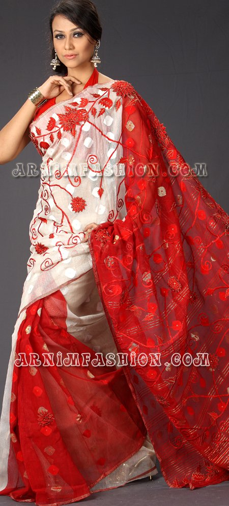 Send Red & White Jamdani to Bangladesh, Bangladesh Newspaper, Bangladeshi gift, send gifts to bangladesh, send gift to bangladesh