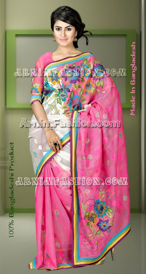 Send White & Magenta Jamdani to Bangladesh, Bangladesh Newspaper, Bangladeshi gift, send gifts to bangladesh, send gift to bangladesh