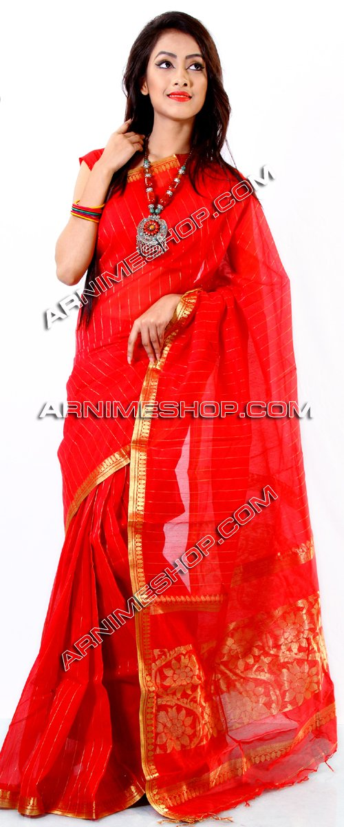 Send Red Half Silk Sari  to Bangladesh, Bangladesh Newspaper, Bangladeshi gift, send gifts to bangladesh, send gift to bangladesh