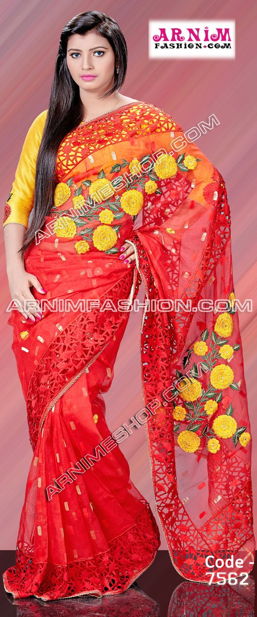 Send Red Exclusive Jamdani to Bangladesh, Bangladesh Newspaper, Bangladeshi gift, send gifts to bangladesh, send gift to bangladesh