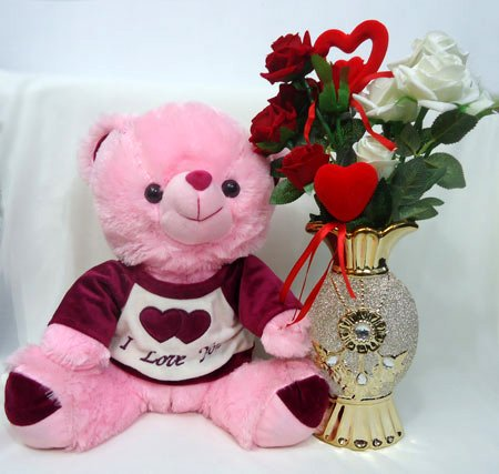 Send Teddy & Decorated Flower Vase with Artificial Rose to Bangladesh, Send gifts to Bangladesh