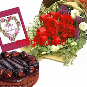 Send Cake+Rose+Card Combo to Bangladesh, Send gifts to Bangladesh